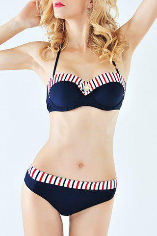 Stylish Halter Stripe Print Splice Women's Bikini Suit - PURPLISH BLUE S