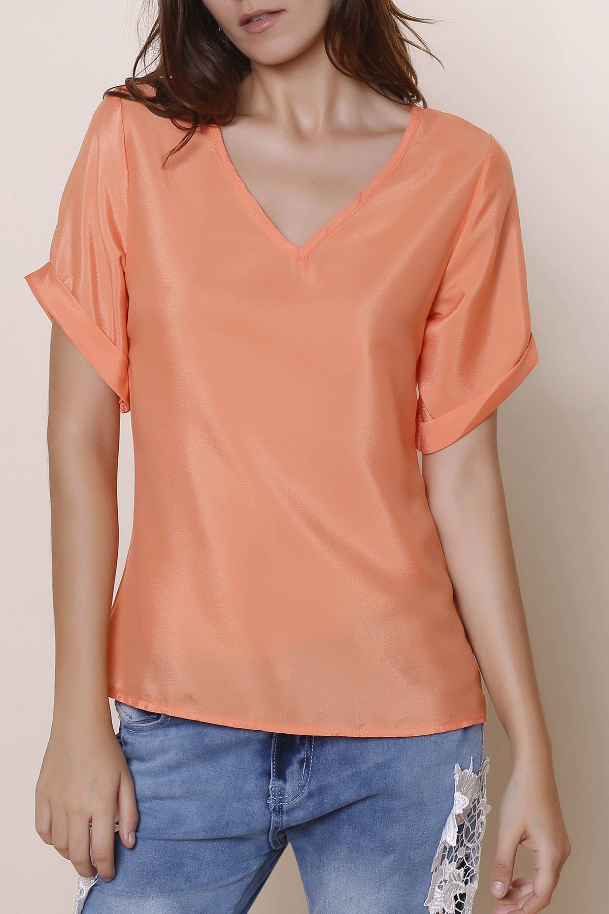 Simple V-Neck Solid Color Short Sleeve Chiffon Women's T-Shirt - ORANGEPINK M