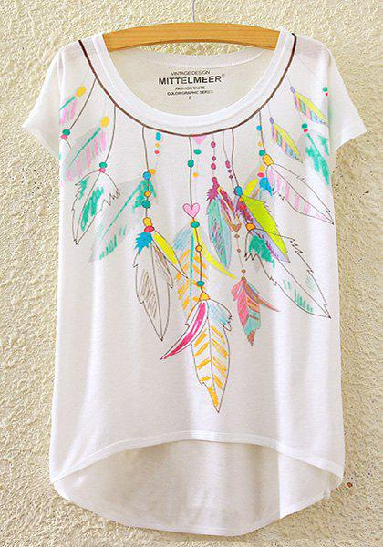 Stylish Round Neck Short Sleeve Colorful Feather Print High-Low Hem Women's T-Shirt - WHITE ONE SIZE(FIT SIZE XS TO M)