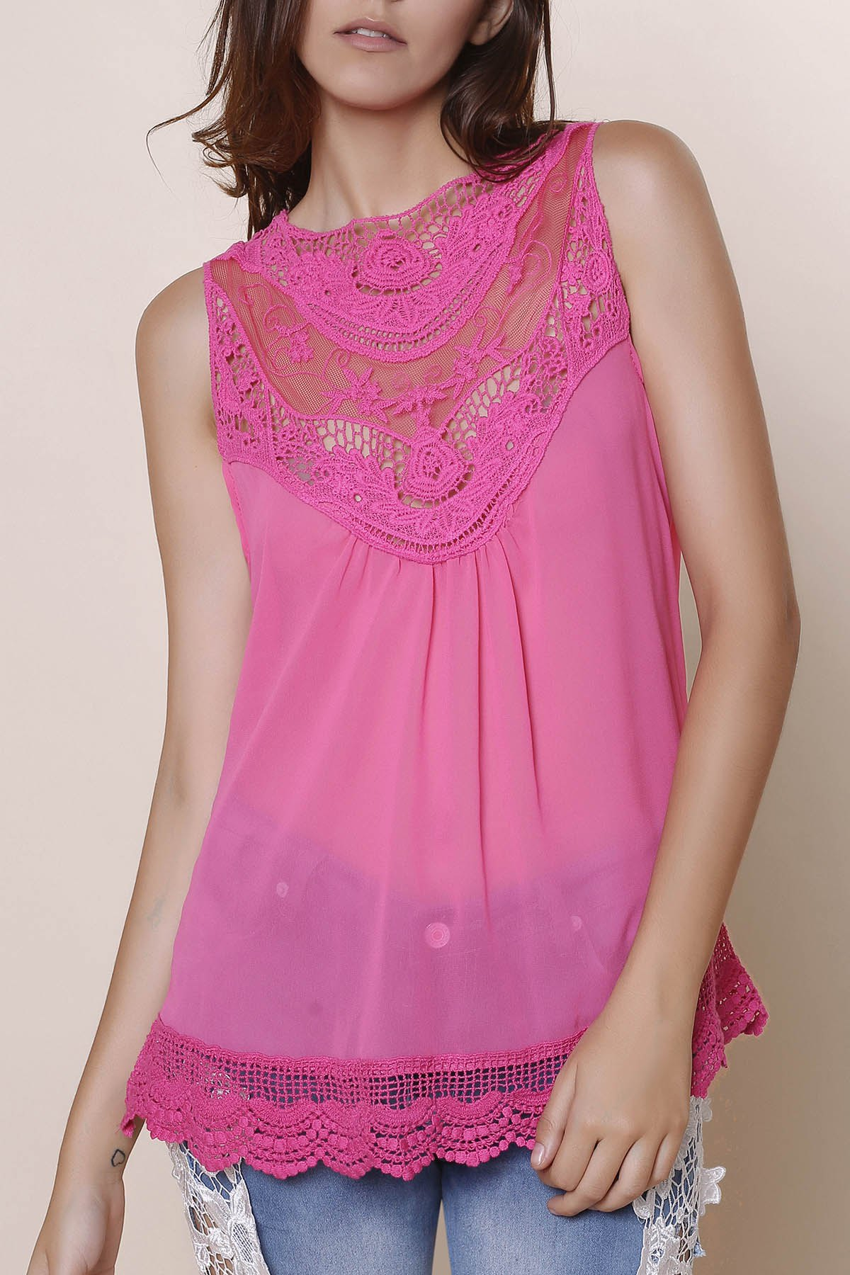 Sweet Solid Color Cut Out Lace Spliced Tank Top For Women - L ROSE