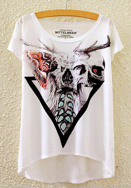 Stylish Round Neck Short Sleeve Skull Print High-Low Hem Women's T-Shirt