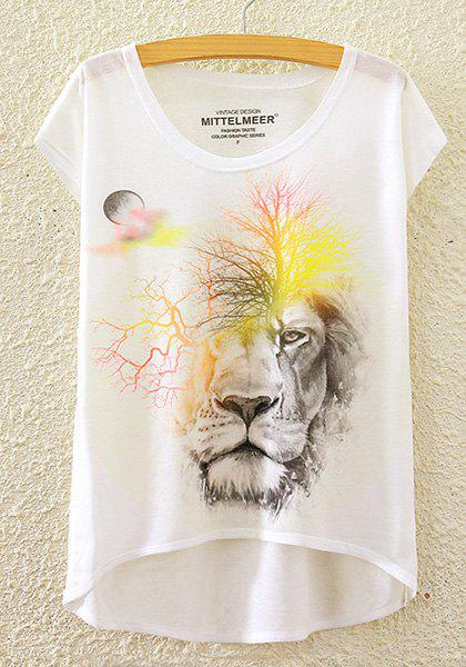 Stylish Round Neck Short Sleeve Lion Tree Print High-Low Hem Women's T-Shirt - WHITE ONE SIZE(FIT SIZE XS TO M)