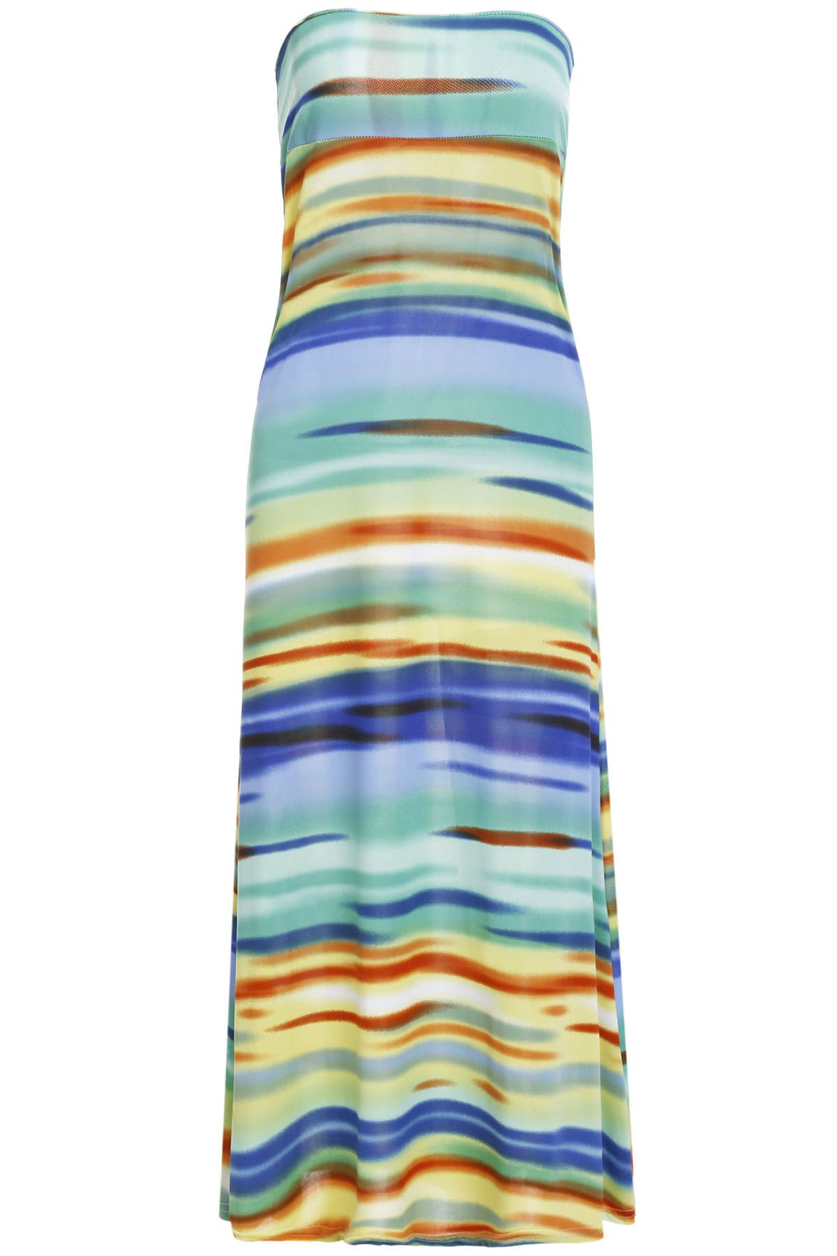 Stylish Mid-Waisted Colorful Printed Women's Maxi Skirt