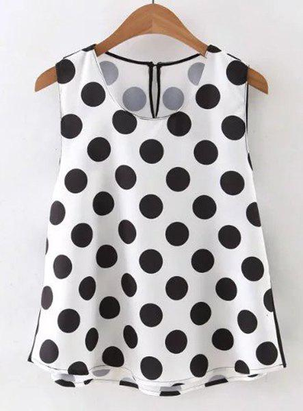 Simple Style Round Collar Sleeveless Polka Dot T-Shirt For Women - WHITE/BLACK S