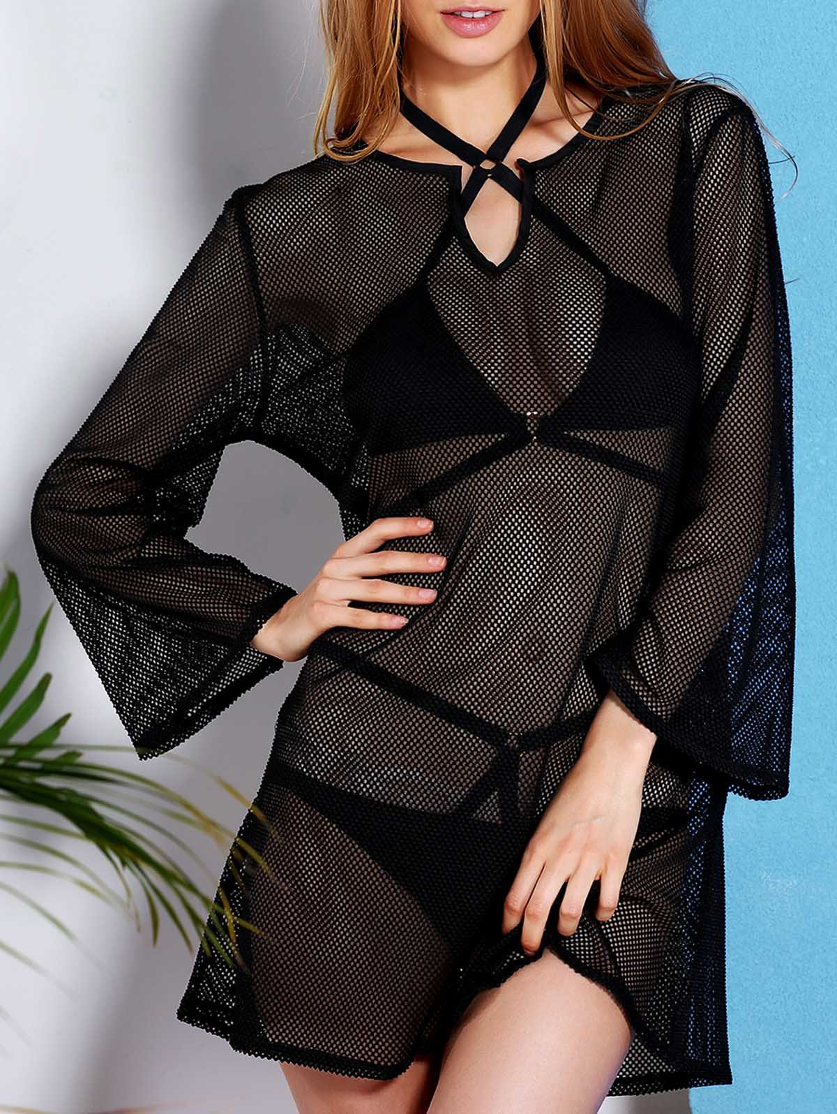 Trendy V Neck Long Sleeve Mesh Hollow Out Women's Black Cover-Up Dress - BLACK L