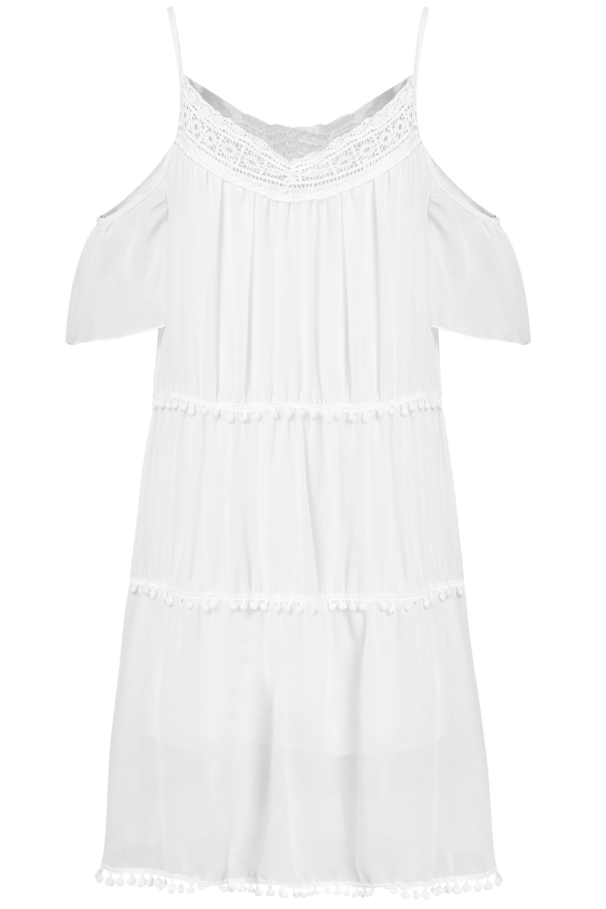Stylish White Off The Shoulder Spaghetti Strap With Lace Women's Dress