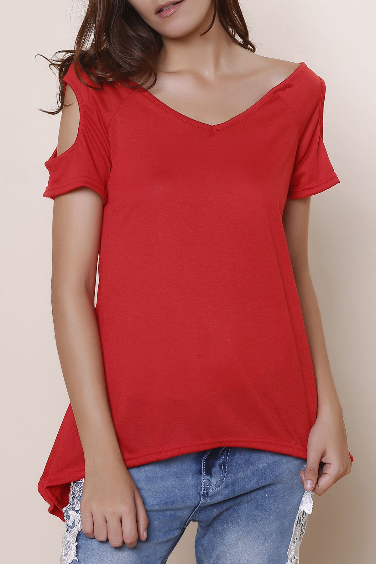 Stylish V-Neck Solid Color Cut Out Short Sleeve Women's T-Shirt - RED S