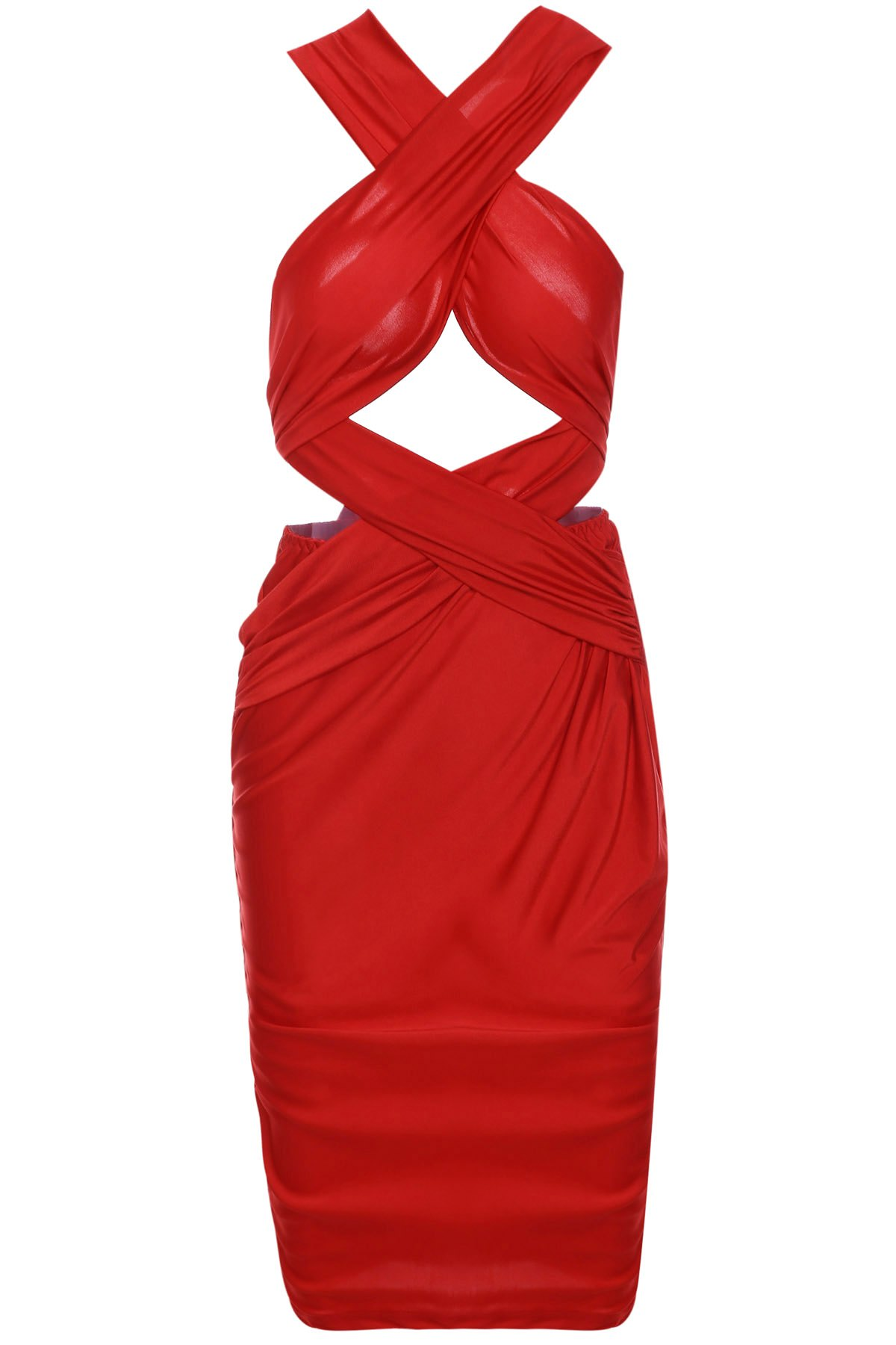 Sexy Sleeveless Solid Color Cut Out Bodycon Convertible Women's Dress - RED S