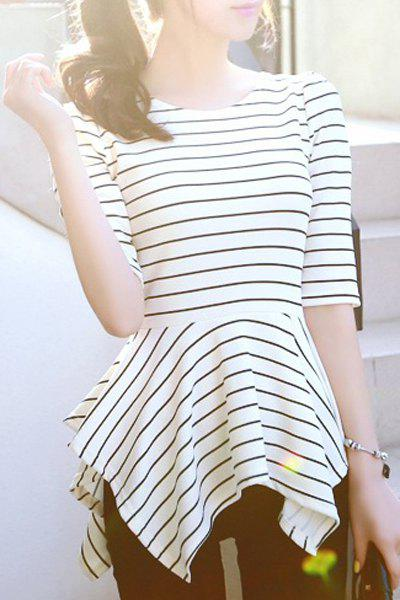 Brief Women's Round Collar Striped Hollow Out Asymmetric Half Sleeve Tees - WHITE S