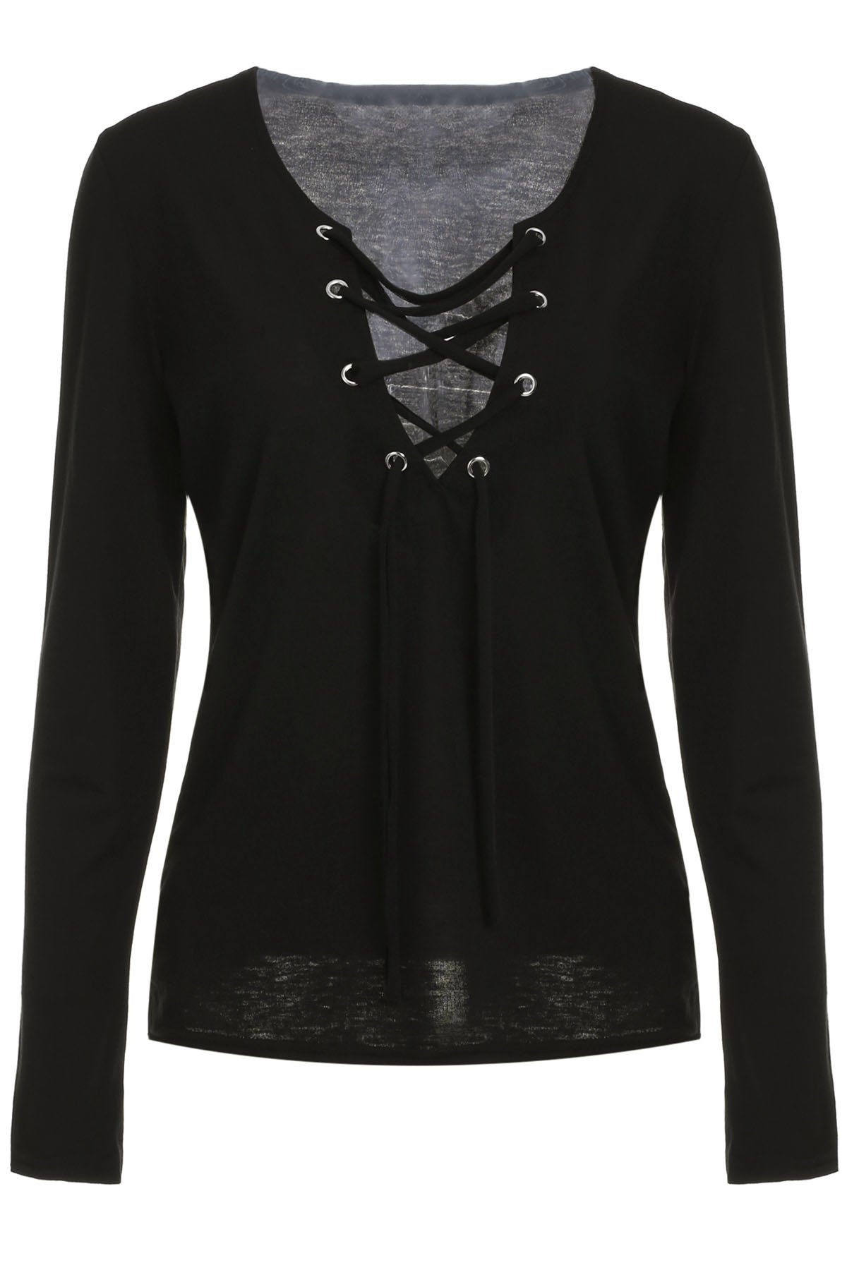 Sexy Plunging Neckline Long Sleeve Lace-Up T-Shirt For Women - BLACK S