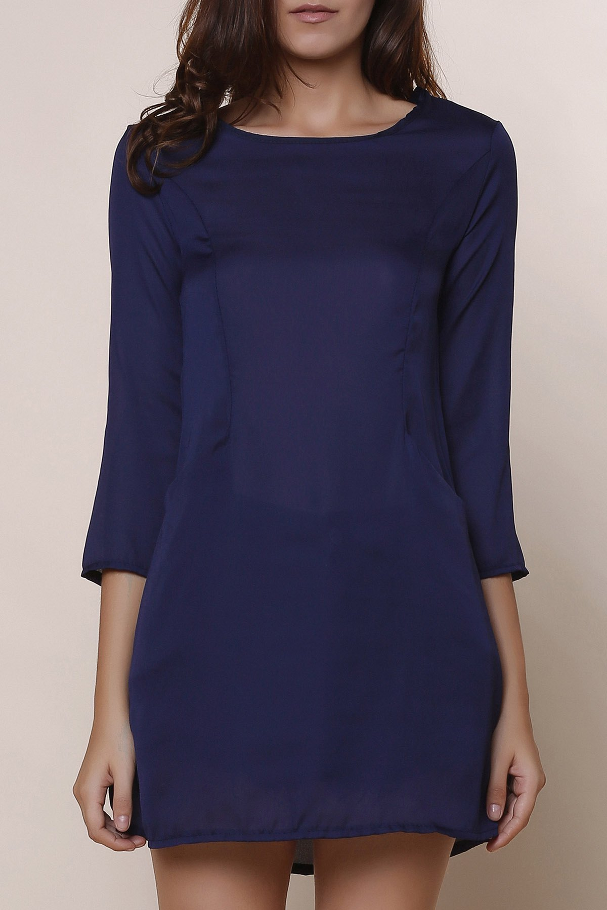 Casual Scoop Neck Solid Color 3/4 Sleeve Women's Chiffon Dress - BLUE XL