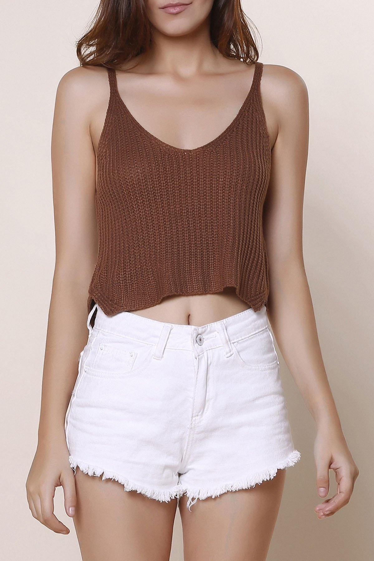 Sexy Women's V-Neck Solid Color Knitted Crop Top - ORANGE ONE SIZE(FIT SIZE XS TO M)