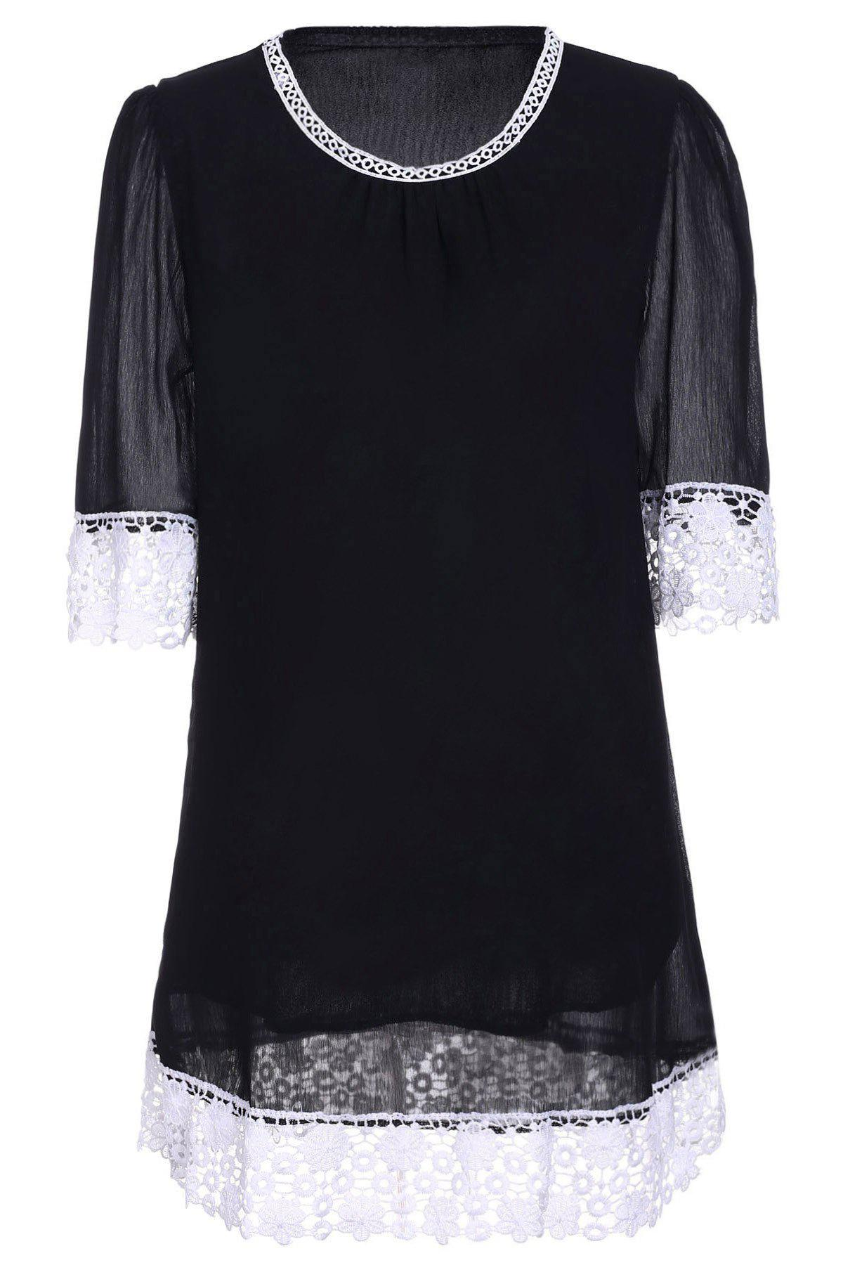 Casual Lace Panel Mini Shift Dress - S BLACK