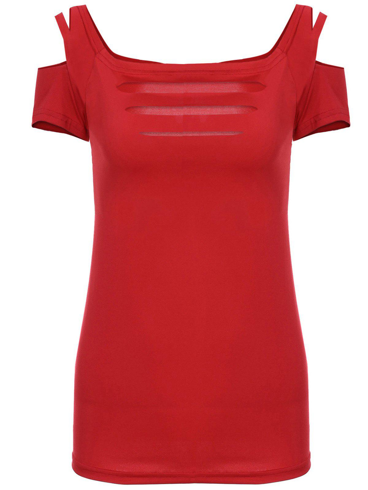 Alluring Solid Color Elastic Short Sleeve Scoop Neck Battered T-Shirt - RED S