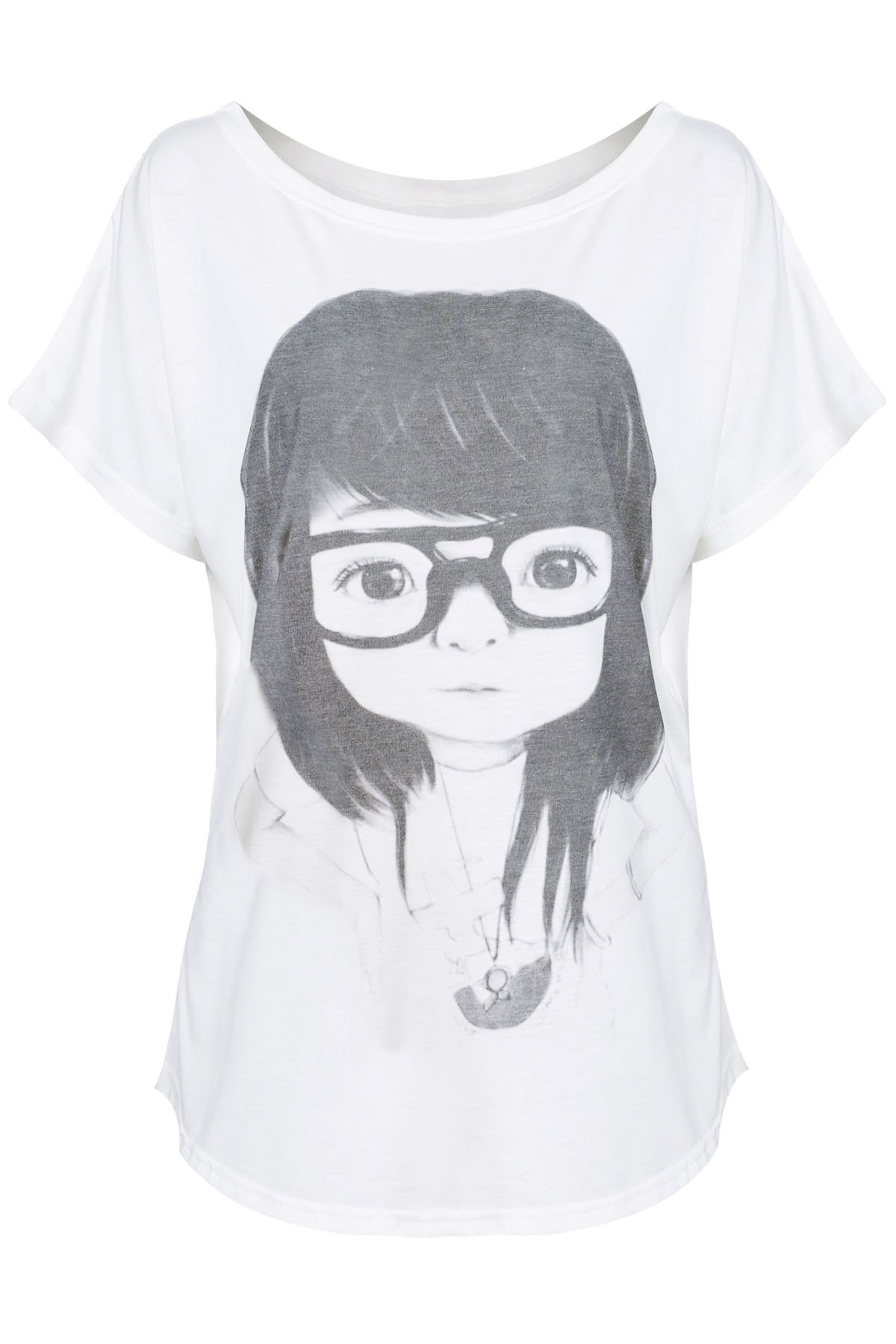 Women's Cute Girl In Glasses Pattern Loose Fit Short Sleeves T-shirt - WHITE ONE SIZE