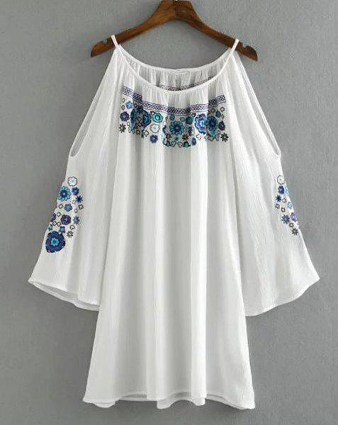 Chic Ethnic Print Scoop Neck Hollow Out Dress For Women - WHITE S