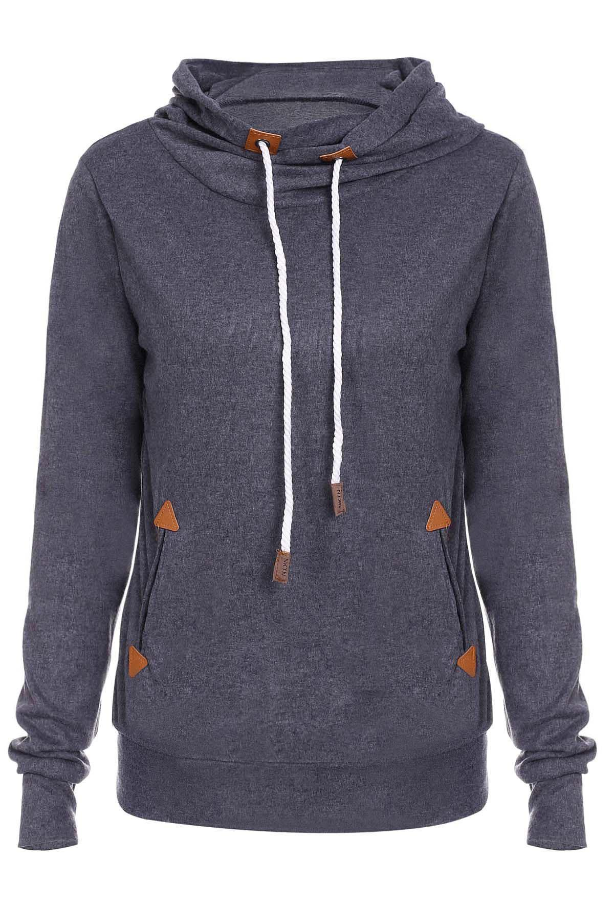 Stylish Hooded Long Sleeve Spliced Draped Women's Hoodie - DEEP GRAY L