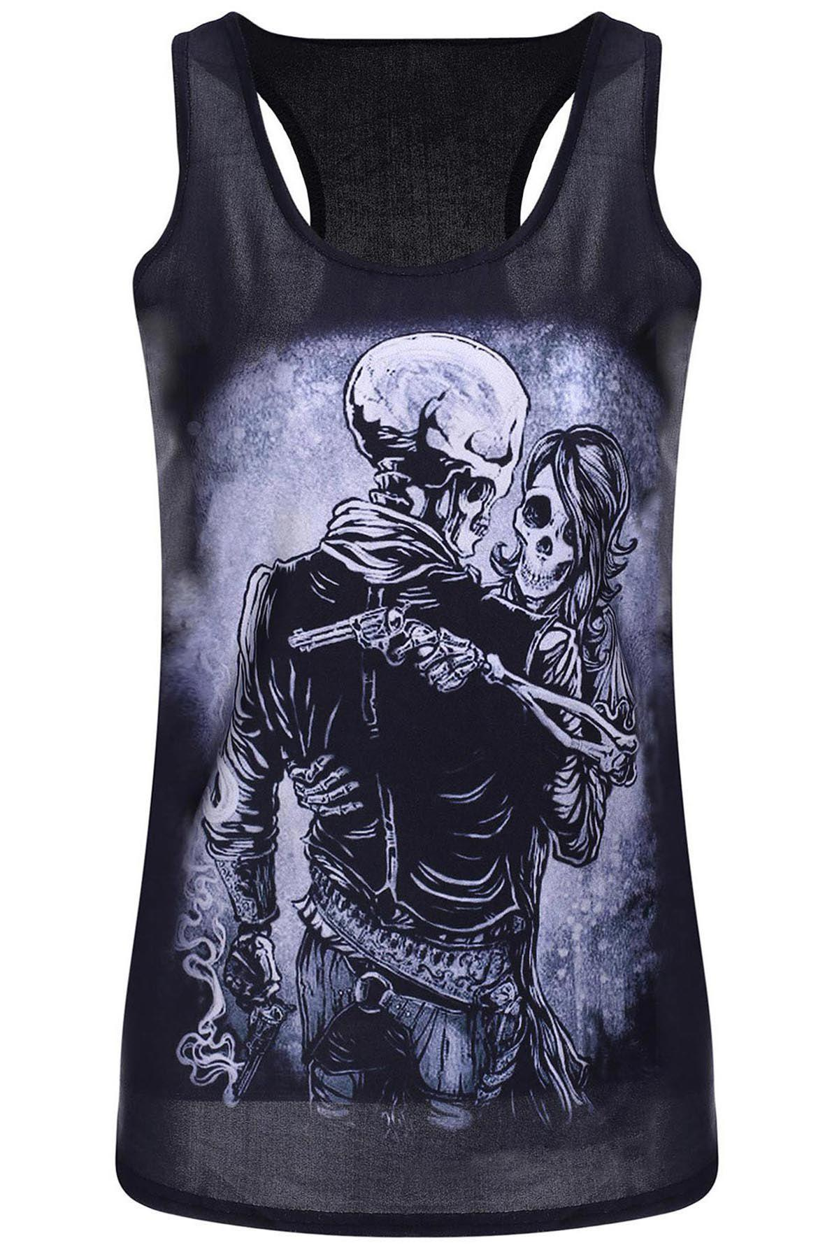 Sleeveless U Neck Skull Print Tank Top - BLACK ONE SIZE(FIT SIZE XS TO M)
