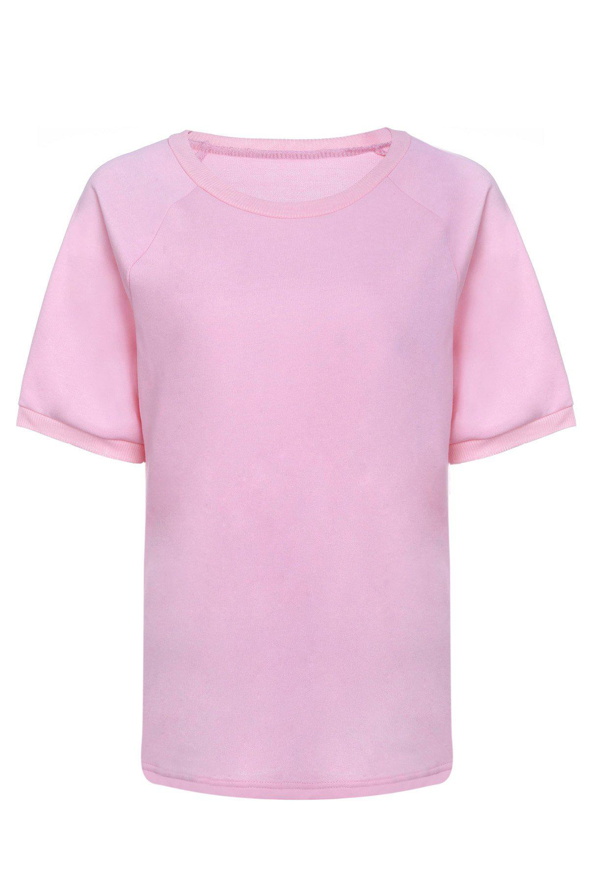 Fashionable Women's Round Neck Short Sleeve T-Shirt - PINK S