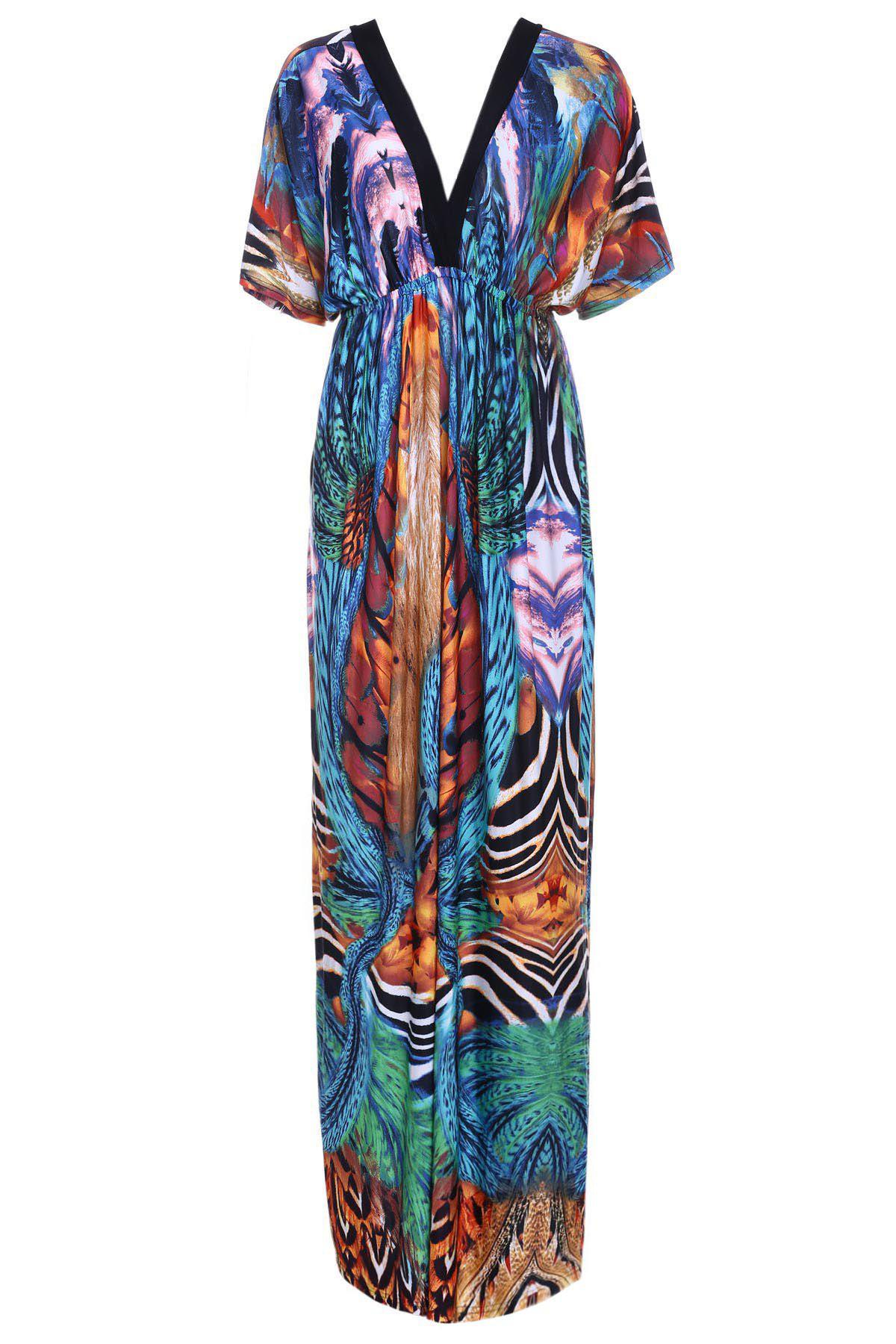 Bohemian Printed V-Neck Short Sleeve Dress For Women - COLORMIX 2XL
