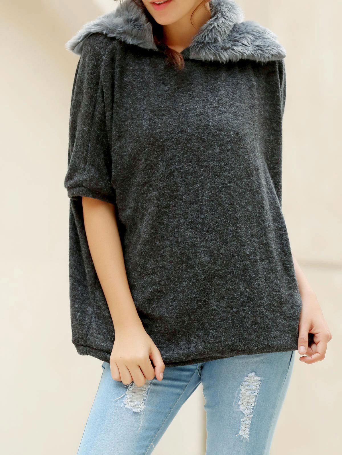 Fashionable Turtle Neck With Fur Loose-Fitting Batwing Sleeve Sweater For Women