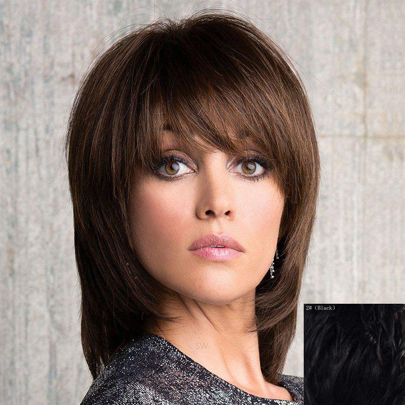 Vogue Straight Side Bang Stunning Medium Layered Capless Human Hair Wig For Women klotz sc3 15sw
