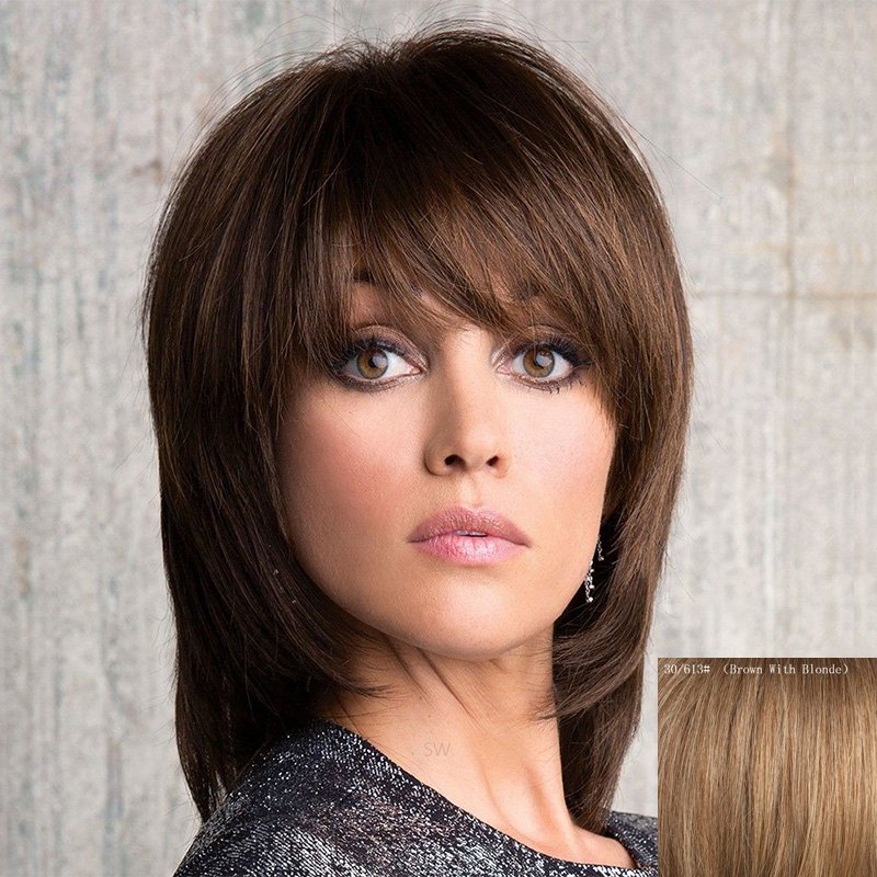 Vogue Straight Side Bang Stunning Medium Layered Capless Human Hair Wig For Women - BROWN/BLONDE