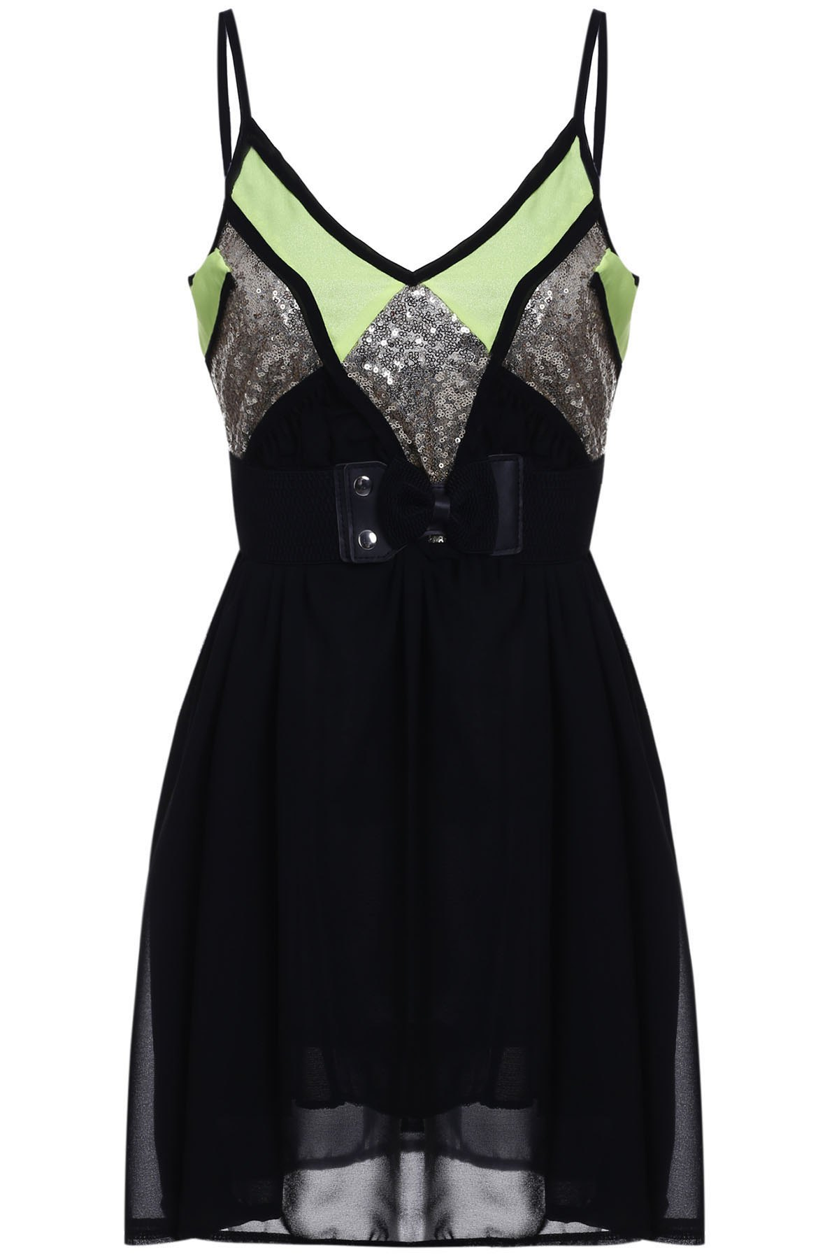 Sexy Style Spaghetti Strap Sleeveless Sequins Embellished Loose Women's Dress - BLACK M