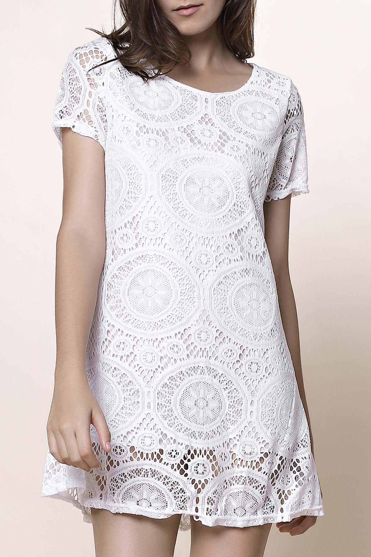 Stylish Short Sleeve Round Collar Solid Color Lace Women's Dress - WHITE M