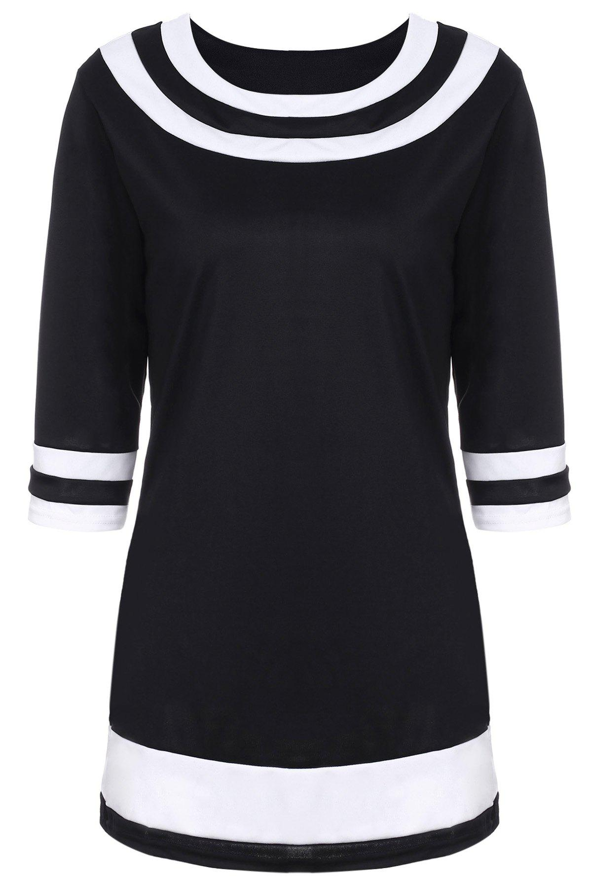 Brief Color Spliced Round Collar 3/4 Sleeve Dress For Women - BLACK XL