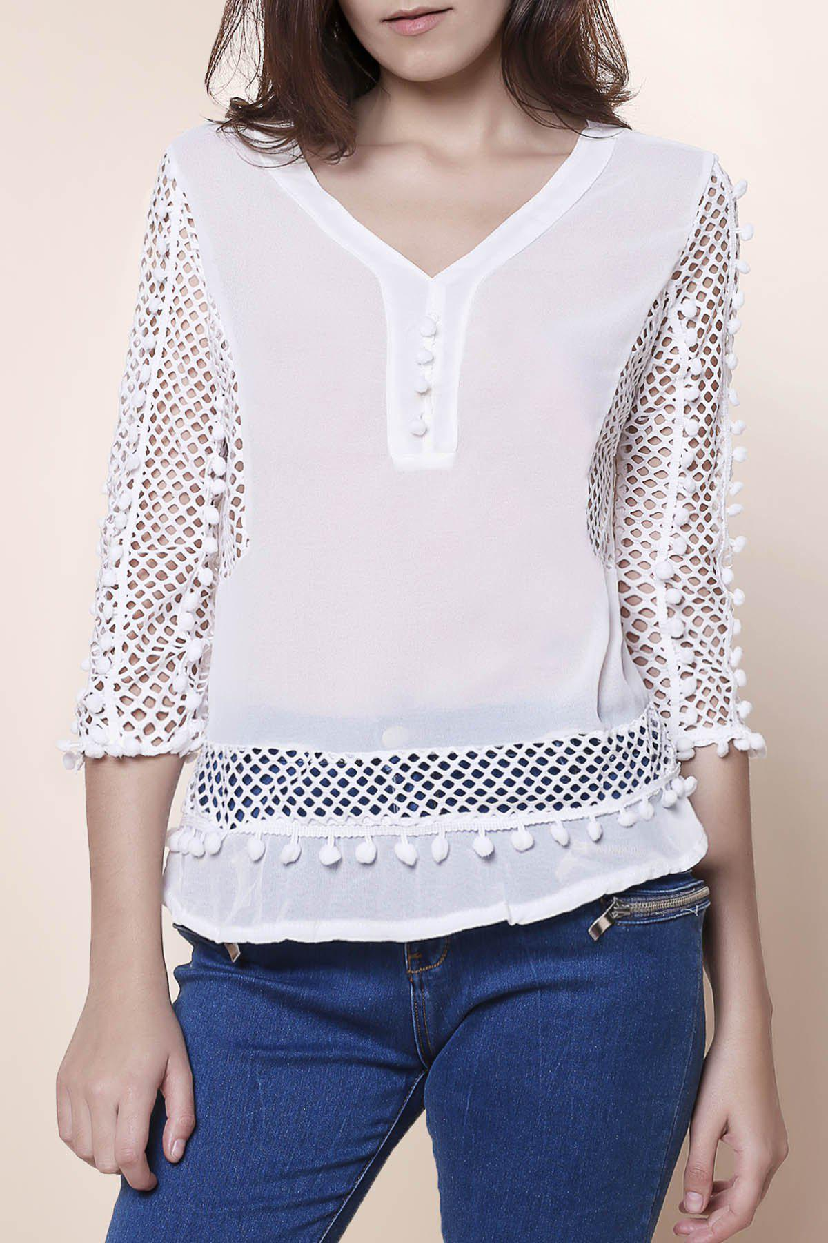 Elegant Women's V-Neck Hollow Out Fuzzy Ball Decorated 3/4 Sleeve Blouse - WHITE L