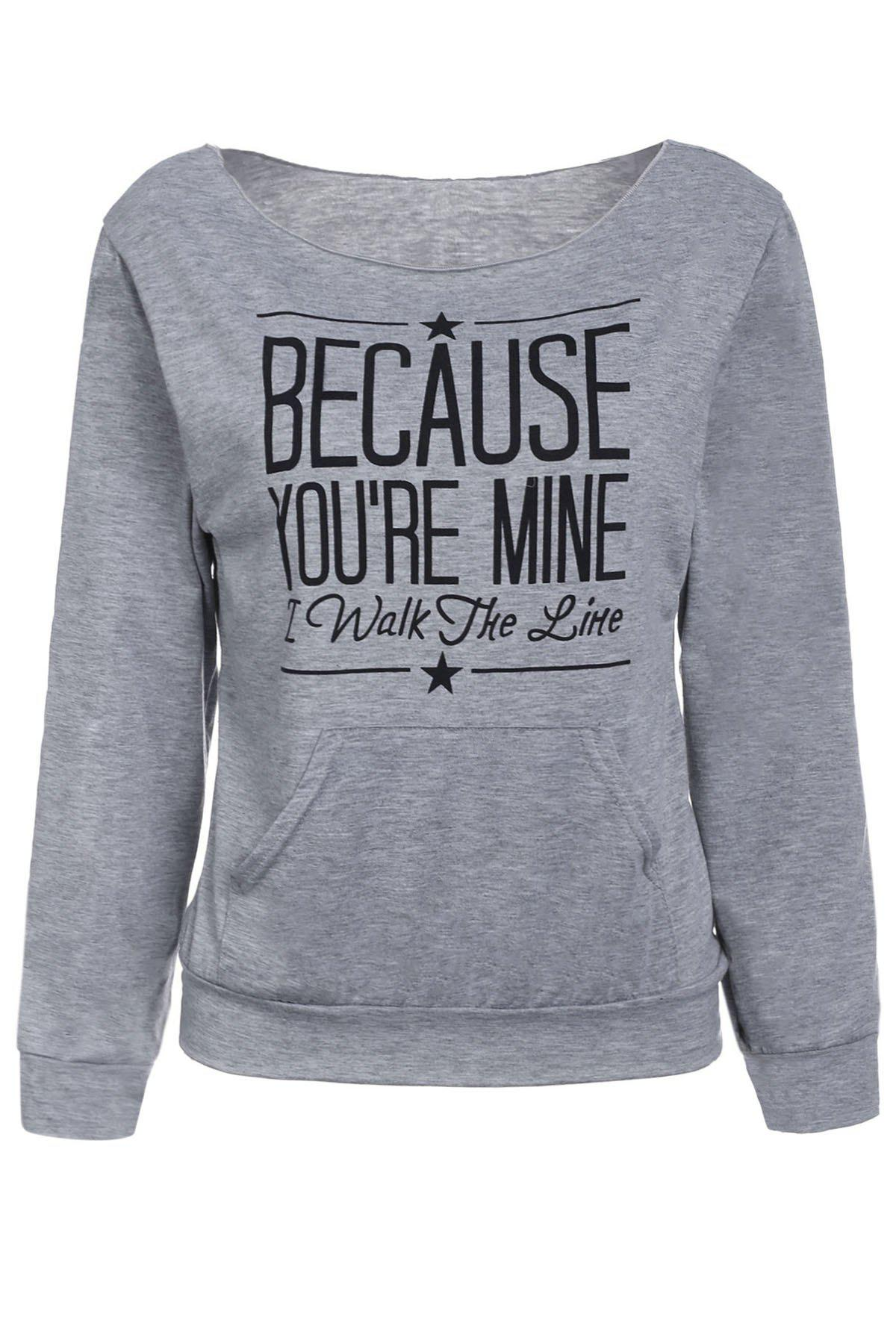 Casual Style Long Sleeve Scoop Neck Letter Print Women's T-Shirt - GRAY L