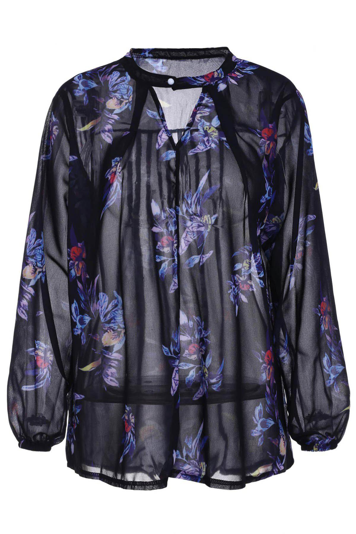 Stylish Long Sleeve Keyhole Neck Floral Print Women's Chiffon Blouse - COLORMIX S