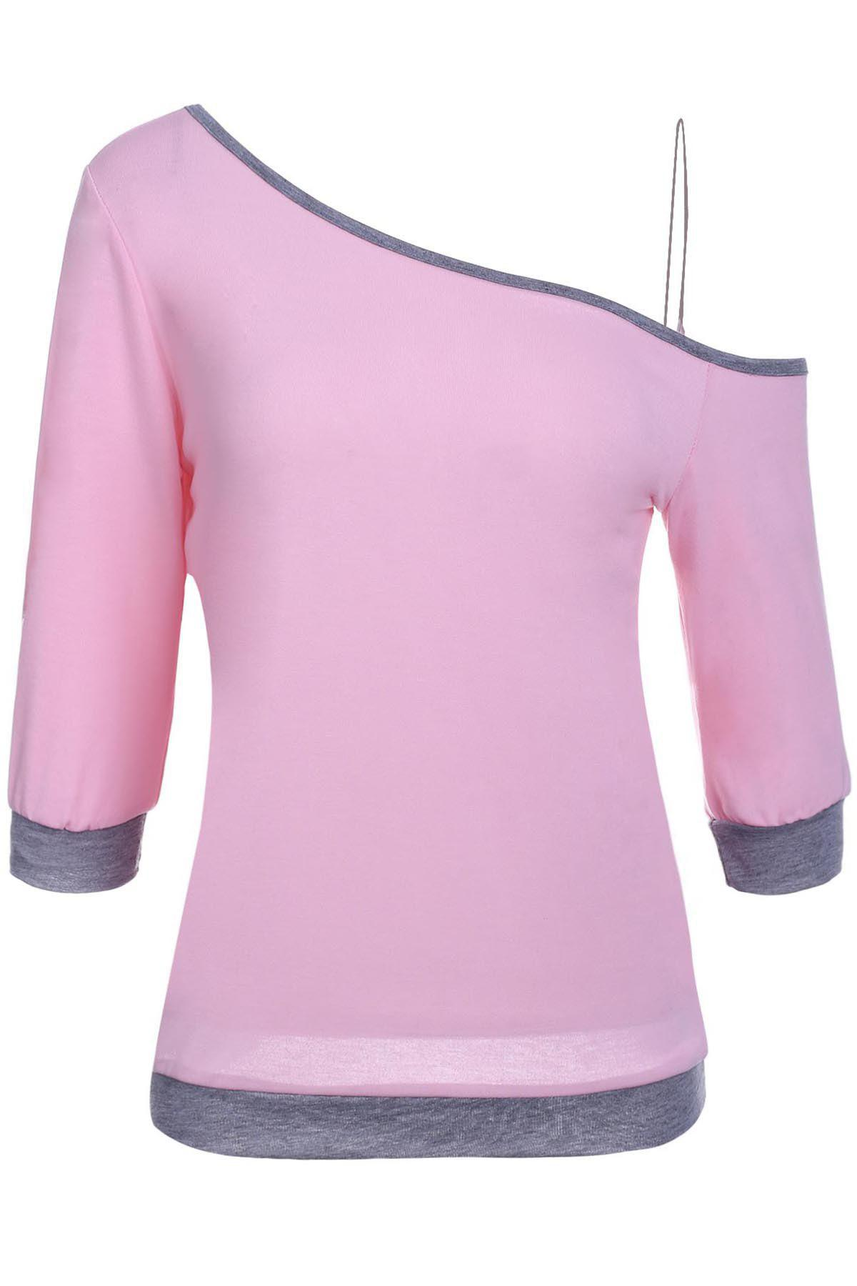 Stylish 3/4 Sleeve Skew Neck Hit Color Women's T-Shirt - PINK M