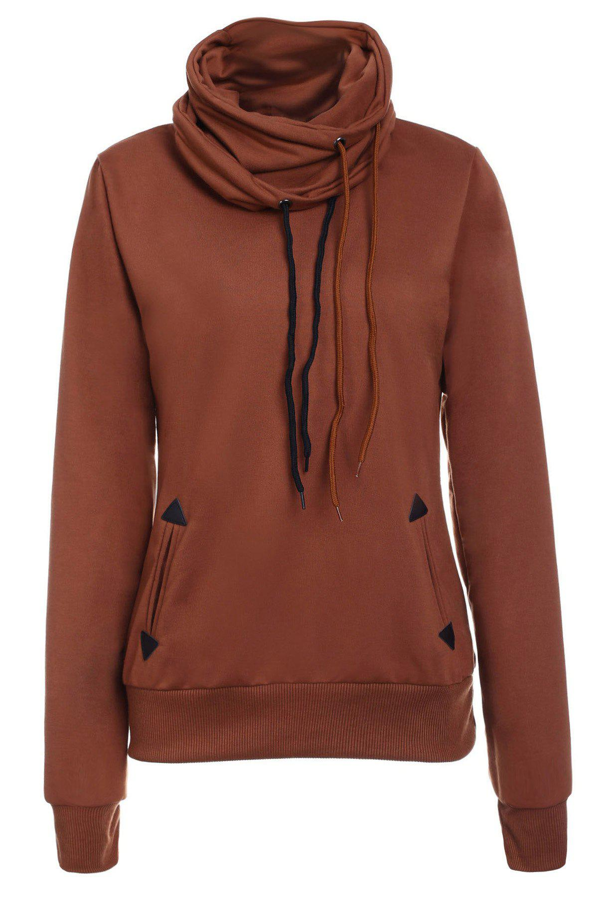 Drawstring Layered Collar Pullover Sweatshirt - BROWN S