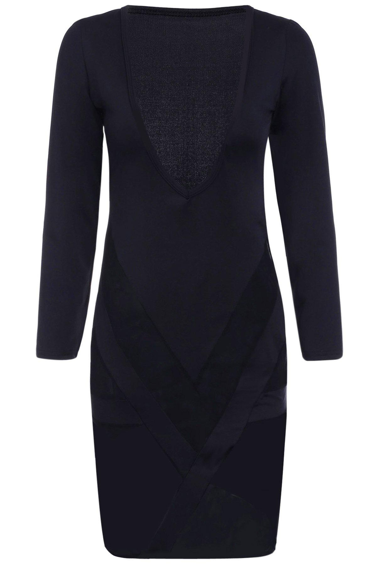 Sexy Plunging Neck Long Sleeves Bodycon See-Through Women's Dress - BLACK S