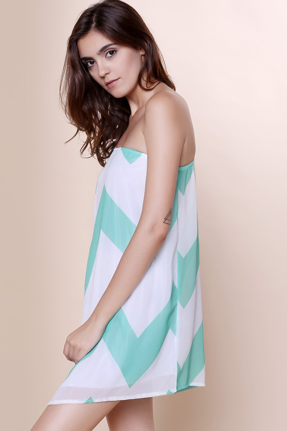 Attractive One-Shoulder Chevron Printed 3/4 Sleeve Chiffon Dress For Women - BLUE S