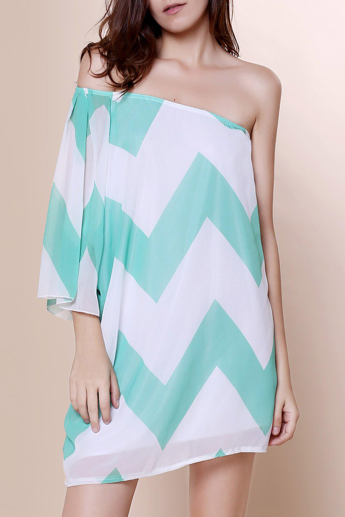 Attractive One-Shoulder Chevron Printed 3/4 Sleeve Chiffon Dress For Women - BLUE XL