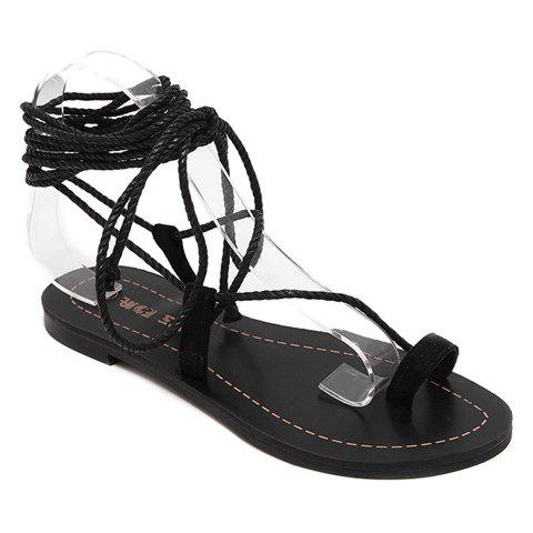 Casual Flat Heel and Lace-Up Design Women's Sandals - BLACK 35