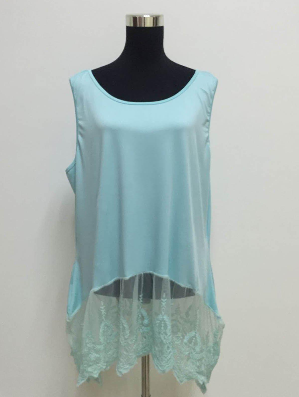 Elegant Women's Scoop Neck Sleeveless Lace Splicing Pus Size Top - AZURE XL