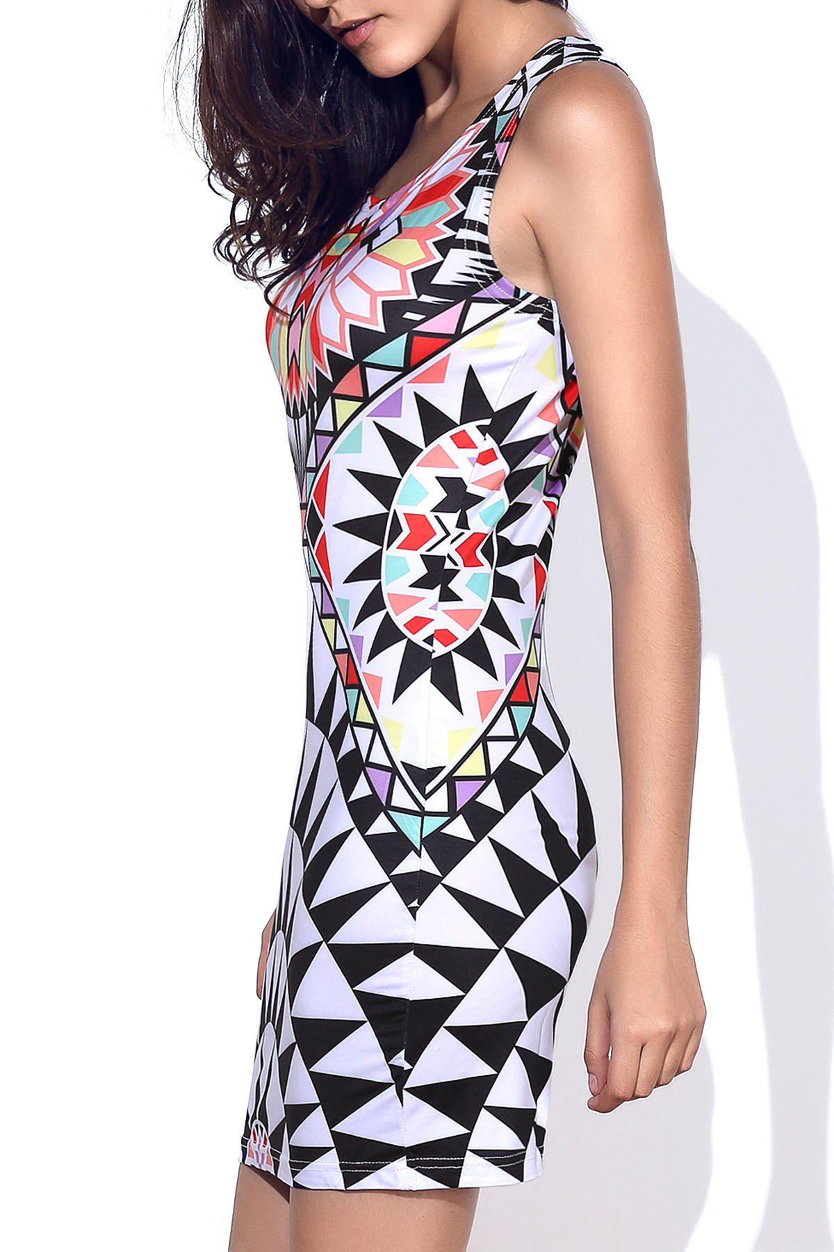 Stylish Round Neck Geometric Pattern Sleeveless Women's Bodycon Dress - COLORMIX M