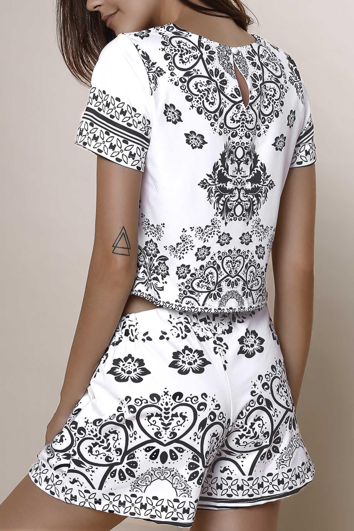 Stylish Round Neck Short Sleeve Crop Top + Porcelain Print High-Waisted Shorts Women's Twinset