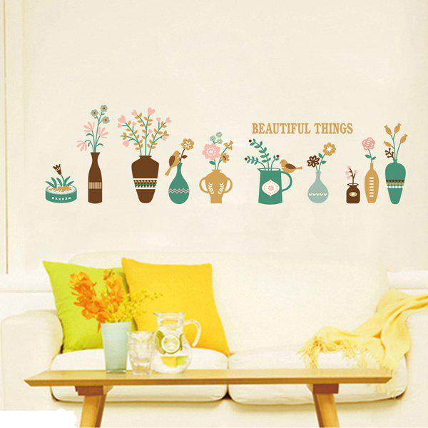 Stylish Flower Vase Pattern Baseboard Wall Sticker For Corridor Bedroom Decoration - COLORMIX