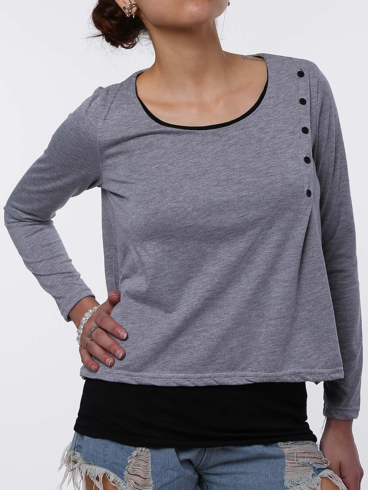 Stylish Faux Twinset Design Scoop Neck Long Sleeve T-Shirt For Women - LIGHT GRAY L