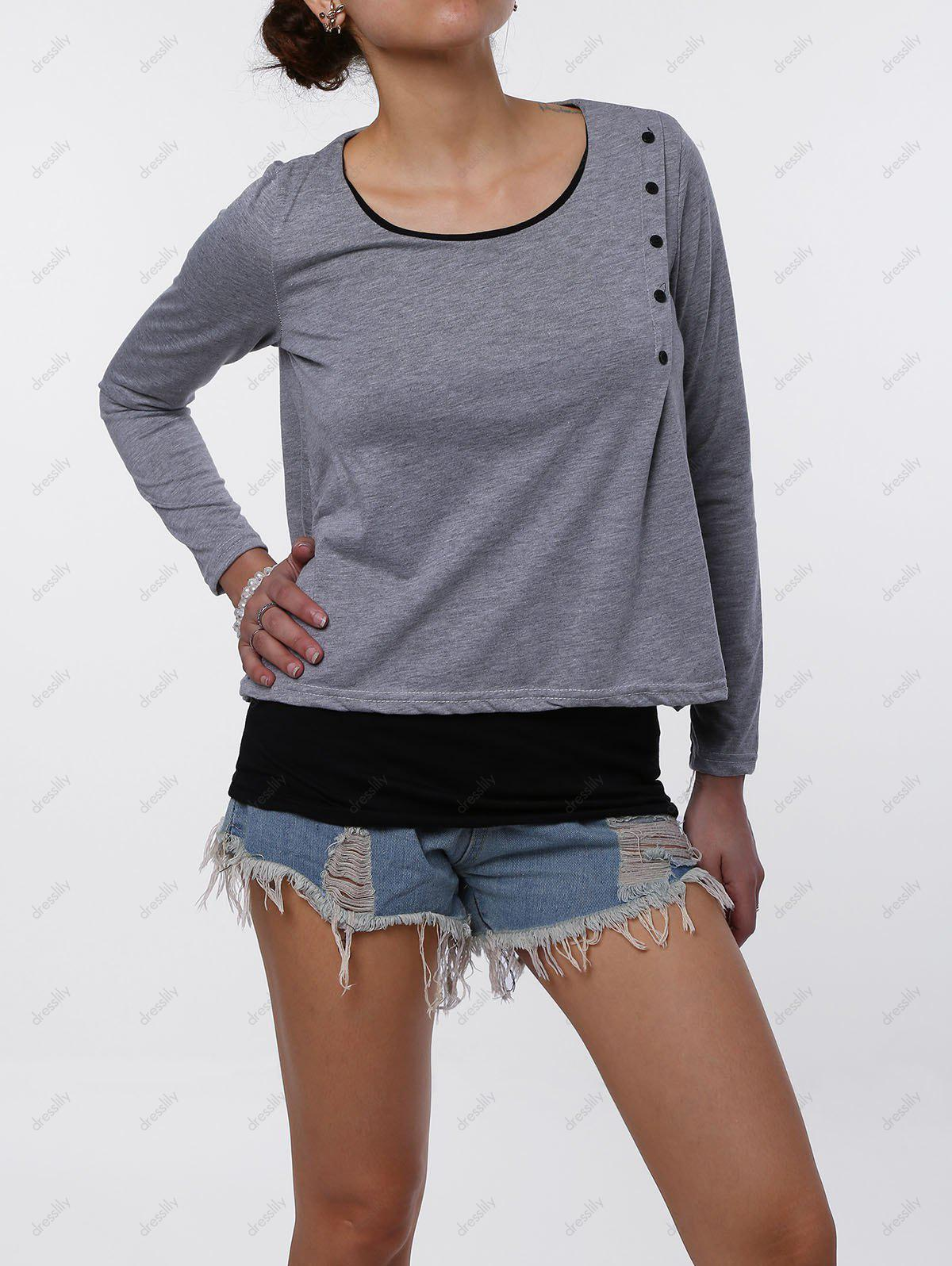 Stylish Faux Twinset Design Scoop Neck Long Sleeve T-Shirt For Women - LIGHT GRAY S