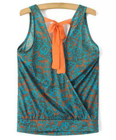 Chic V Neck Printed Criss-Cross Loose Women's Tank Top - GREEN S