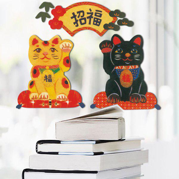 Stylish Lucky Kitten Pattern Wall Sticker For Shop Showcase Door Decoration - COLORMIX