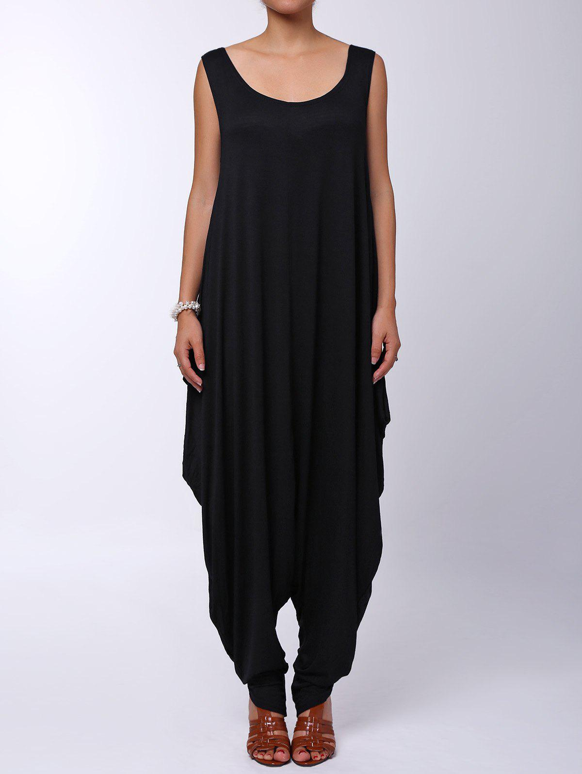 Sexy Spaghetti Strap Sleeveless Loose-Fitting Solid Color Women's Jumpsuit - BLACK S