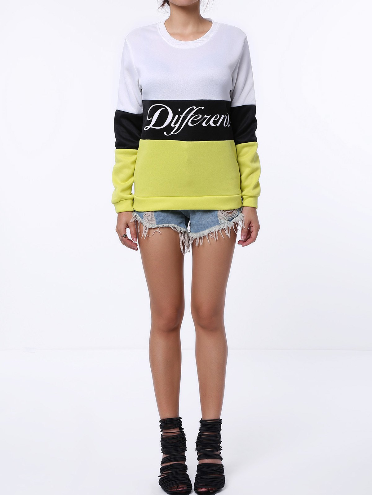 Preppy Style Color Block Round Neck Letter Print Long Sleeve Flocking Sweatshirt For Women - BLACK/GREEN ONE SIZE(FIT SIZE XS TO M)