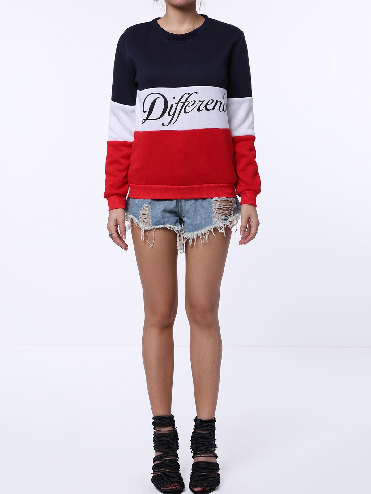 Preppy Style Color Block Round Neck Letter Print Long Sleeve Flocking Sweatshirt For Women